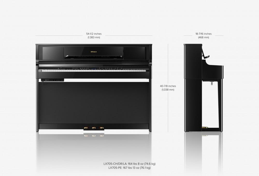 Roland LX705 尺寸圖